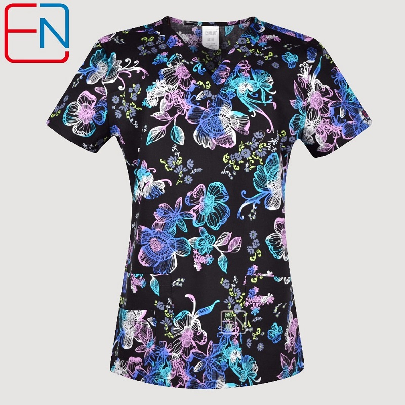 Hennar Women Scrub Uniforms In 100% Cotton  Fabric With Size Xxs-3xl Floral Prints Women Scrub Tops
