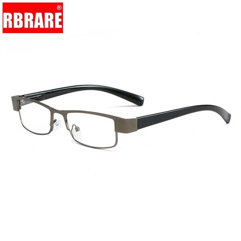 RBRARE Metallic Square Reading Glasses Mens High End Clear Lens Retro Business Hyperopia Prescription Eyeglasses Old Man Oculos