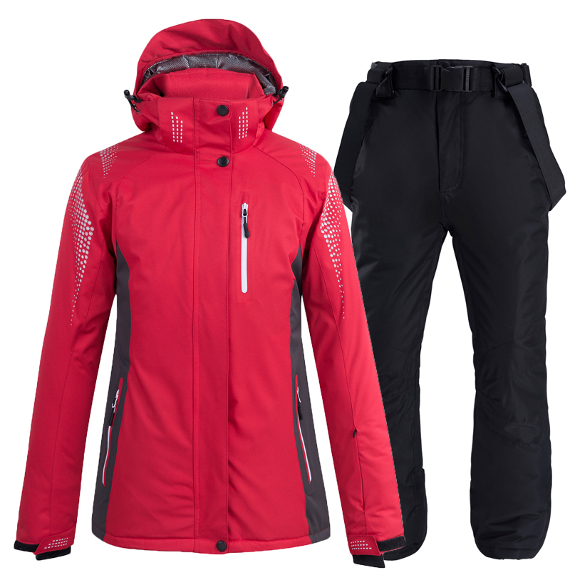 -30 Red Pure Colors Women And Men Snow Suit Wear Snowboard Clothing Winter Waterproof Costumes Skiing Jacket + Snow Bibs Pant