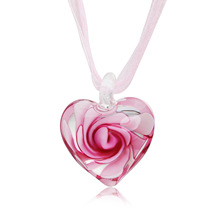 Explosive fashion cute glazed inner flower inlaid spiral flower love pendant ribbon necklace heart necklace  choker necklace long blue ribbon choker necklace