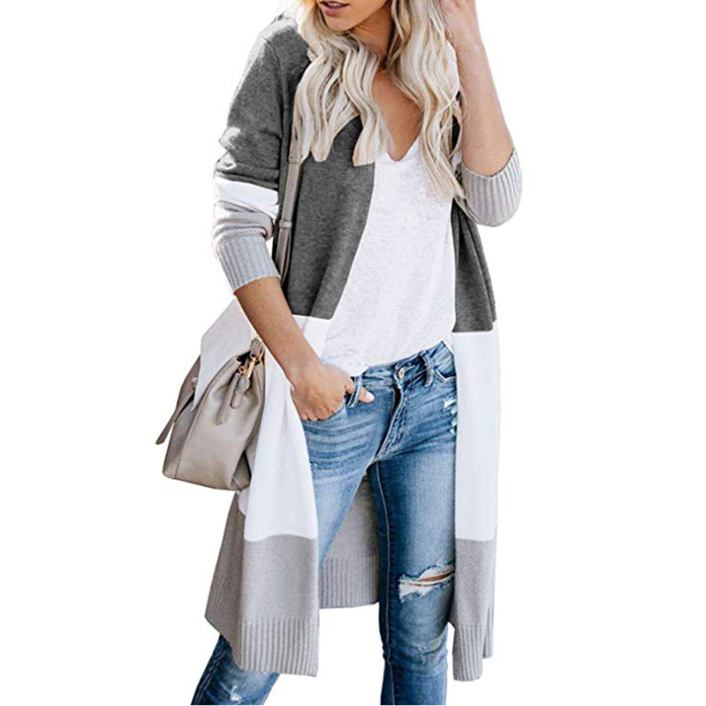 Lightweight Autumn Outwear Coat Casual Long Sleeve Thin Plus Size Open Front Women Cardigan Soft Knitted Long Fashion Sweater