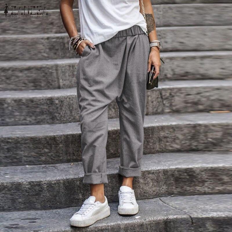 ZANZEA 2020 Summer Women Casual Drop-Crotch Pants Ladies Solid Loose Pockets Trousers Casual Elastic Waist Bottoms Streetwear