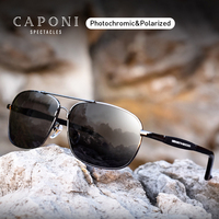 CAPONI Square Polarized Sunglasses Vintage Alloy Eyewear For Men Shades For Masculino Photochromic Driving Goggles BS10001