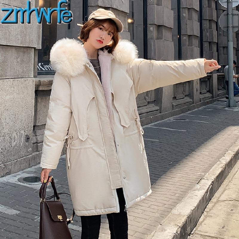 2019 New Long Winter Adjustable Waist Jacket Women Thickening Warm Outerwear   Parkas   Female Wool Liner Loose Coats Big Fur Hooded