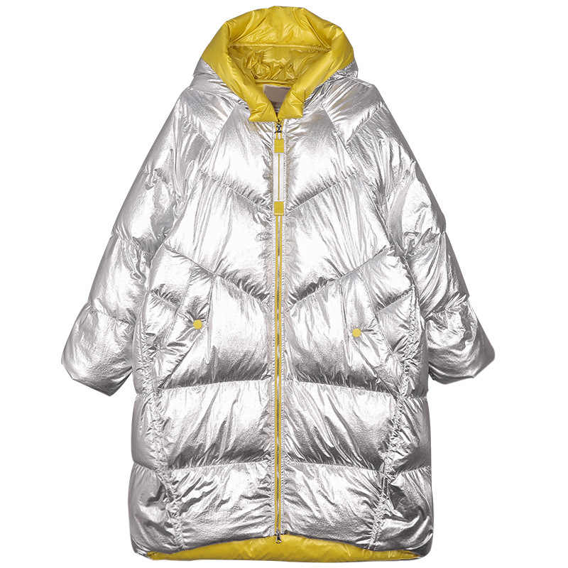Winter Jacket Women Long Hooded Outwear Waterproof Girls' Glossy Silver Cotton Padded Parka Warm Snow Coat Female Colour Block