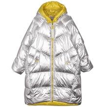 Winter Jacke Frauen Lange Mit Kapuze Outwear Wasserdicht Mädchen Glänzend Silber Baumwolle Padded Parka Warme Schnee Mantel Weibliche Farbe Block