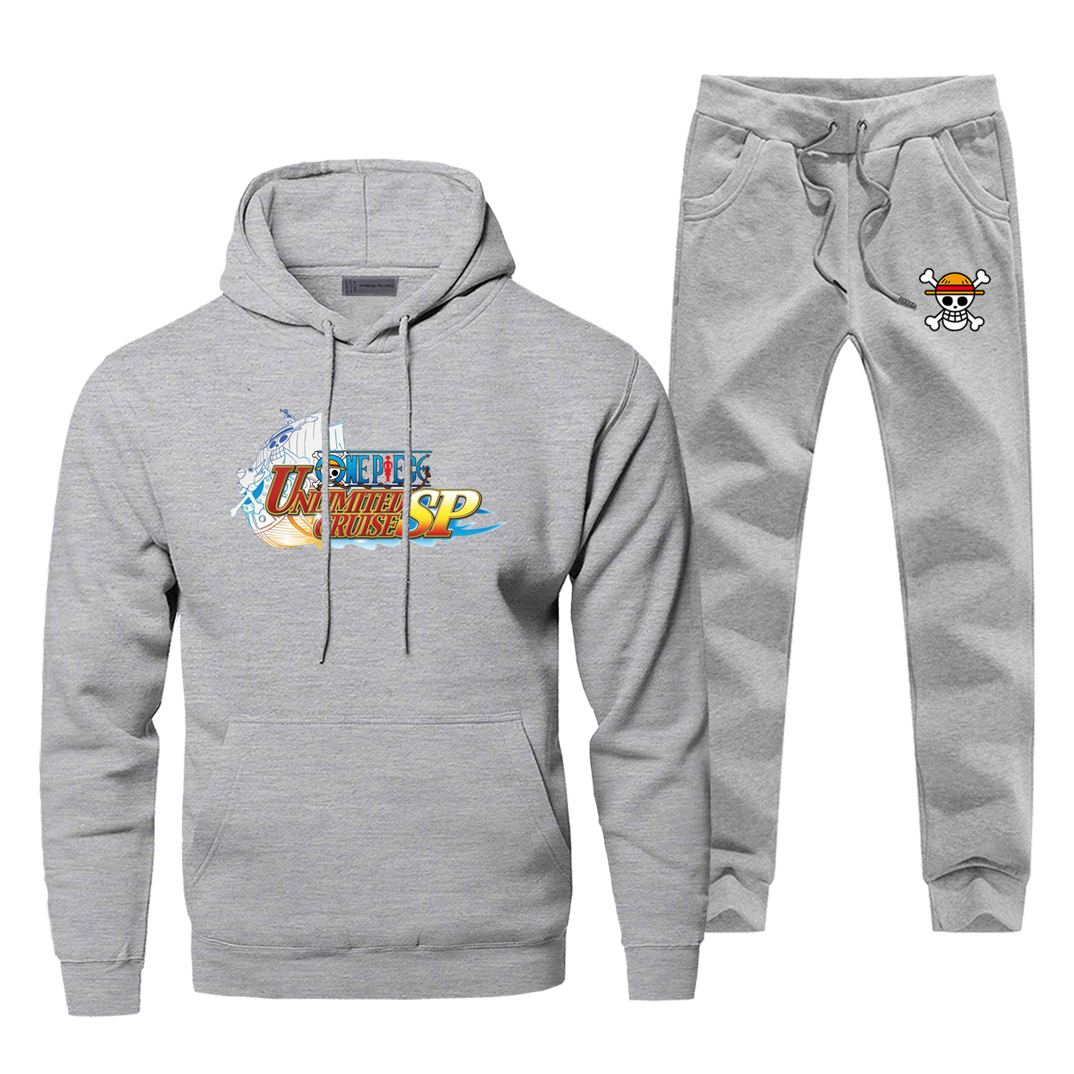One Piece Unlimited Cruise Sp Print Complete Man Tracksuit Japan Anime Gray Black Hoodies Sets Harajuku Warm Pants Sweatshirts