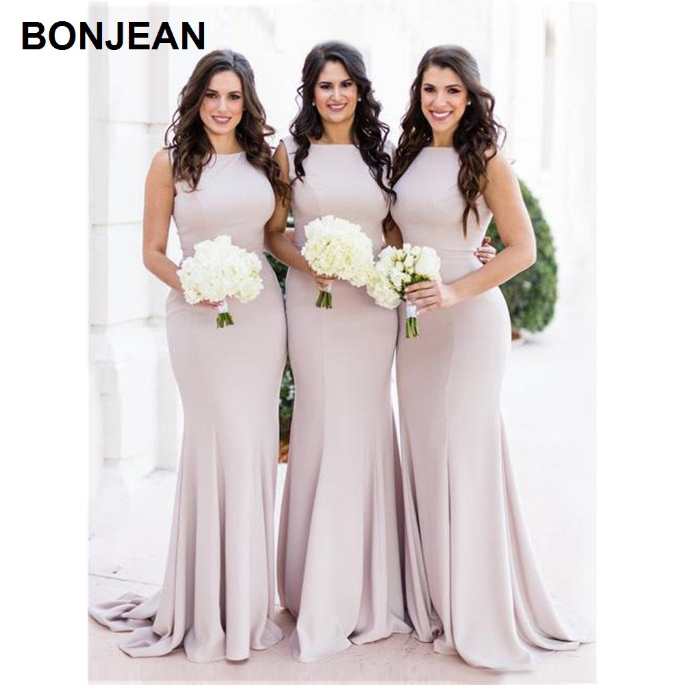 Wholesale Price Mermaid   Bridesmaids     Dresses   High Neck Satin   Bridesmaid     Dress   Sleeveless for teens Wedding Party