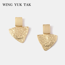 wing yuk tak Gold Color Zinc Alloy ZA Dangle Earrings for Women Party Jewelry Fashion Punk Geometric doreille femme