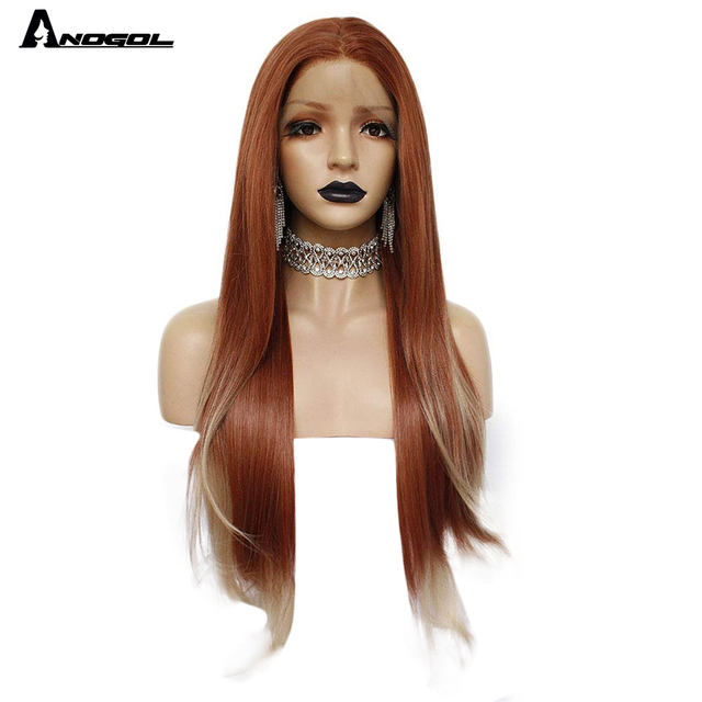 ANOGOL Auburn Orange Synthetic Lace Front Wig Long Straight Middle Part Copper Red Heat Resistant Wig for Women