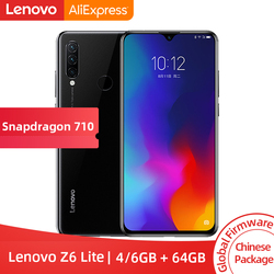 Global ROM Lenovo Z6 Lite 4GB RAM 64GB ROM  6GB 128GB Snapdragon 710 Octa Core de Smartphones Triplo Voltar cams 6.3 ''19.5: 9 WaterDrop 4050mAh Cellphone free shipping