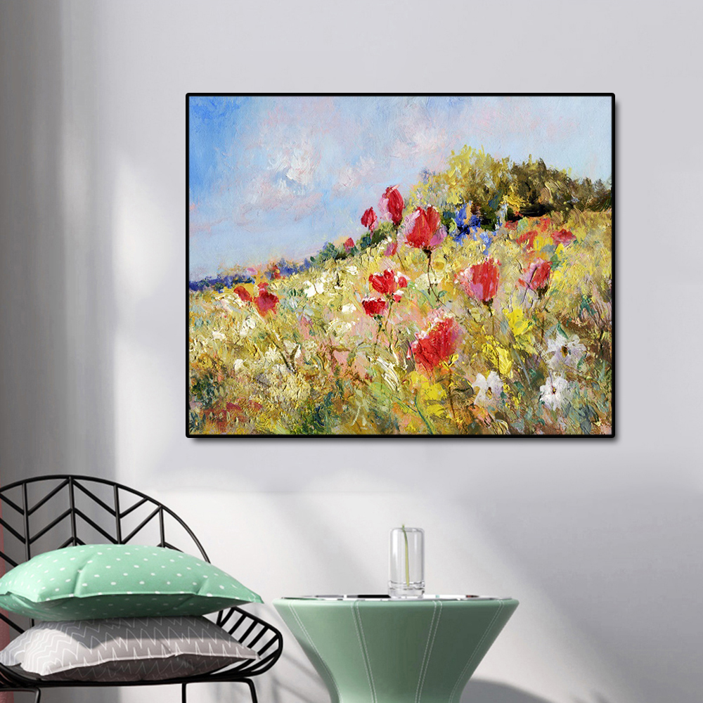 Cassisy Canvas Art Oil Painting Sea of flowers on the hillside Poster Picture Wall Decor Modern Home Decoration For Living Room