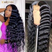 Бразильский Свободный парик с глубокой волной 13x4, парик на сетке спереди, вьющиеся человеческие волосы, парики для черных женщин, 180% плотнос...