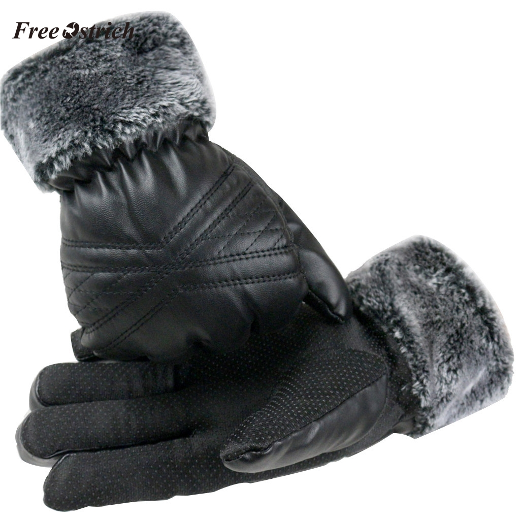 Free Ostrich Men's Winter Warm Cashmere Black Leather Gloves Unisex Thick Motorcycling Gloves Full Finger For Cycling Running #N