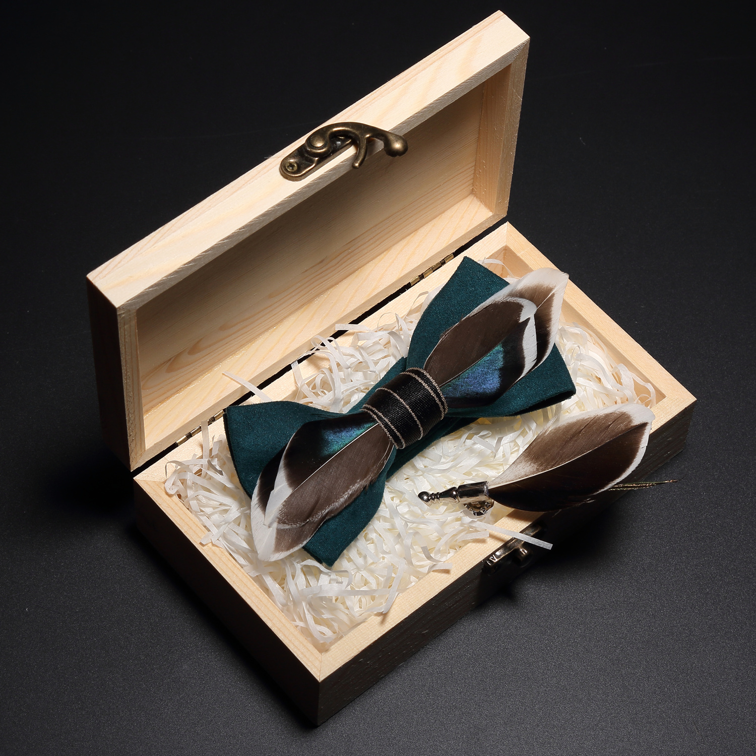 GUSLESON Quality Handmade Feather Bow Tie And Brooch Set For Men Accessories Men's Luxury Bowtie Set With Box For Wedding Gift