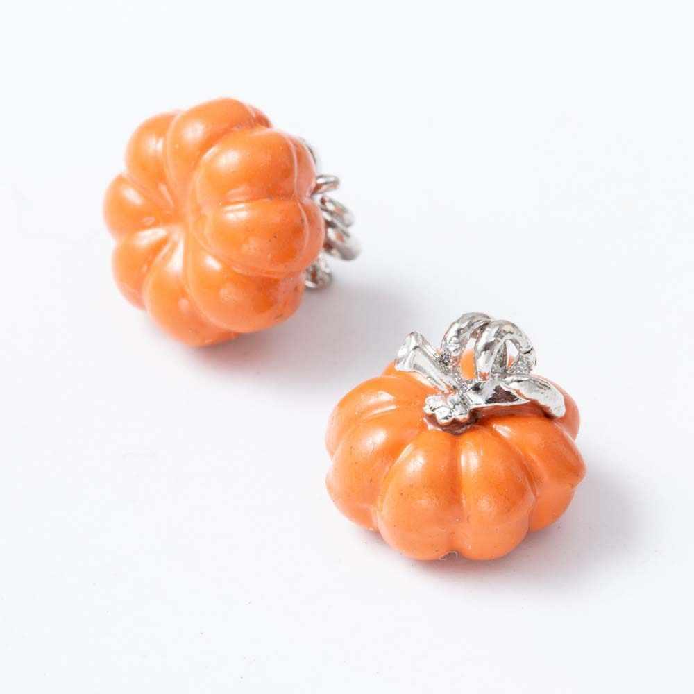 Venta al por mayor de 5 piezas de joyería DIY Mini esmalte colorido Halloween Aleación de calabaza pendientes collar colgantes accesorios de joyería