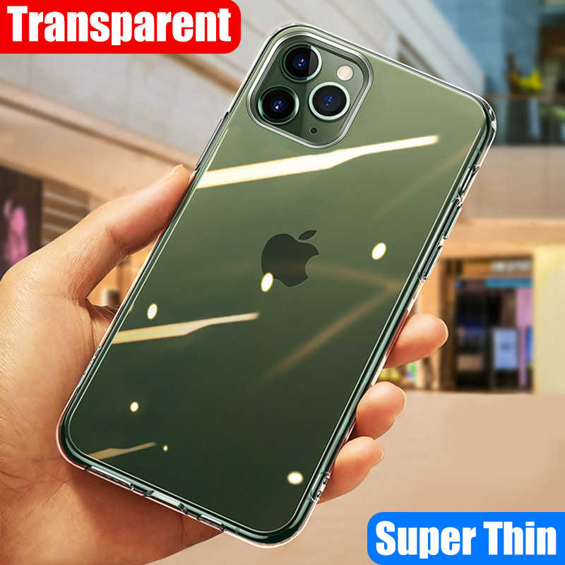 Ultra-fina e transparente de silicone soft case Para iPhone 5 11 Pro X XR XS Max Para iPhone 4 6 7 8 mais Fino Luxo Tampa Do Caso Coque