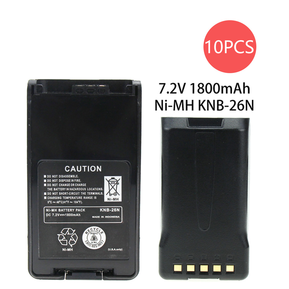 10 Pcs KNB-26N 7.2V 1800mAh Ni-MH Battery Extended Replacement For Kenwood NX-220 NX-420 NX-320 Radio Walkie Talkie