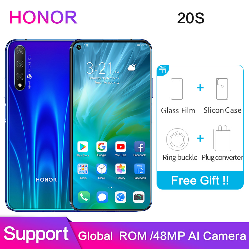 Honor 20s Global ROM Support Google Software 48MP 32MP Rear 3 Camera 6GB 8GB 128GB 2340x1080P Full Screen Smart Mobile Phone
