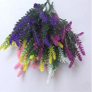 Image 4 - 1 mazzo di lavanda Artificiale rayon fiore del desktop falso disposizione dei fiori decorazione di cerimonia nuziale decorazione del partito puntelli Foto