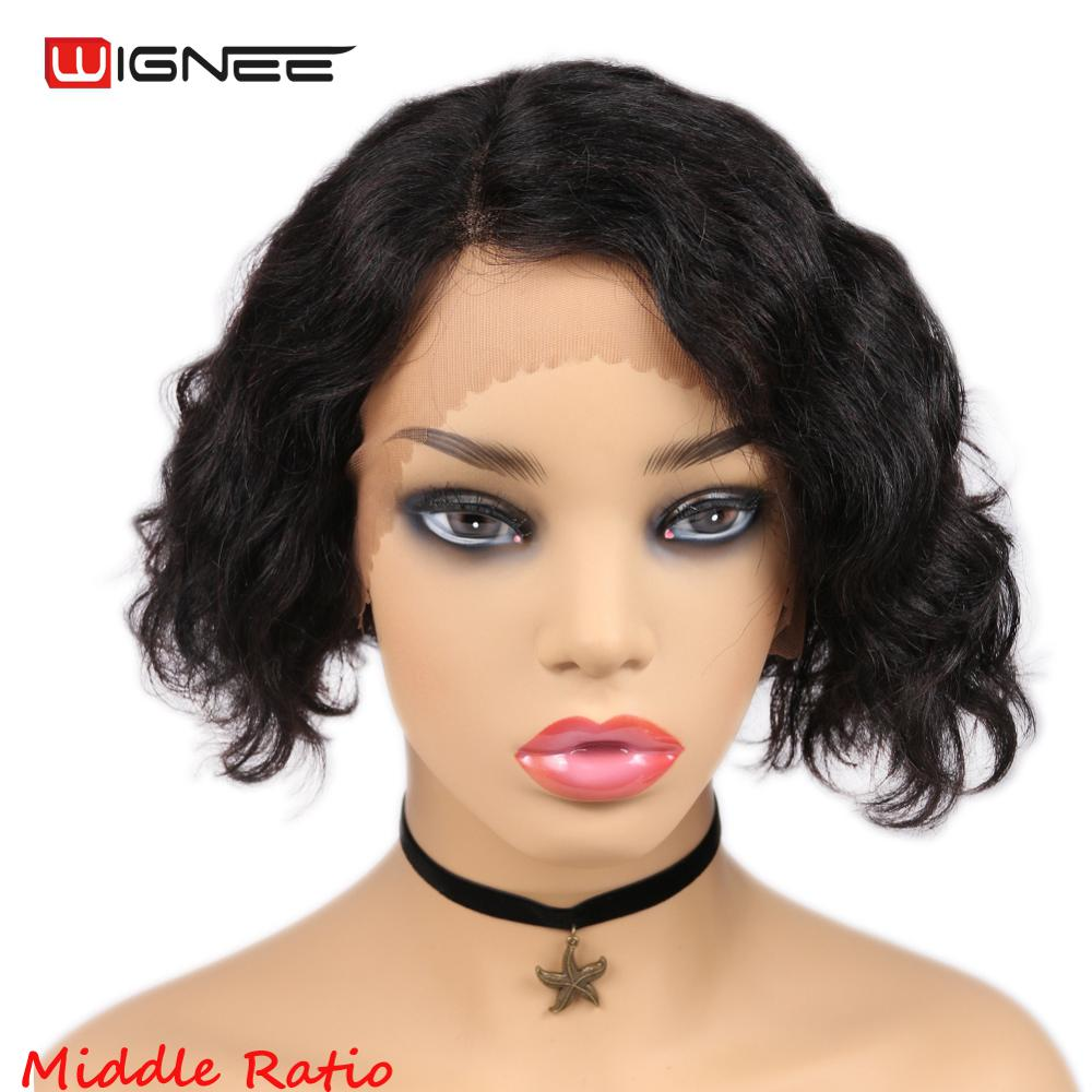 Wignee Lace Part Short Human Hair Wigs For Black/White Women Remy Brazilian 150% Density Glueless Curly Human Wigs Free Shipping