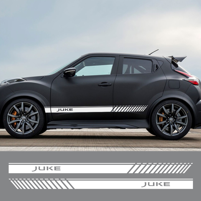 2PCS For Nissan Juke Auto Both Side Decor Graphic Vinyl Stripes Decals Car Door Side Skirt Stickers Racing Exterior Accessories 2