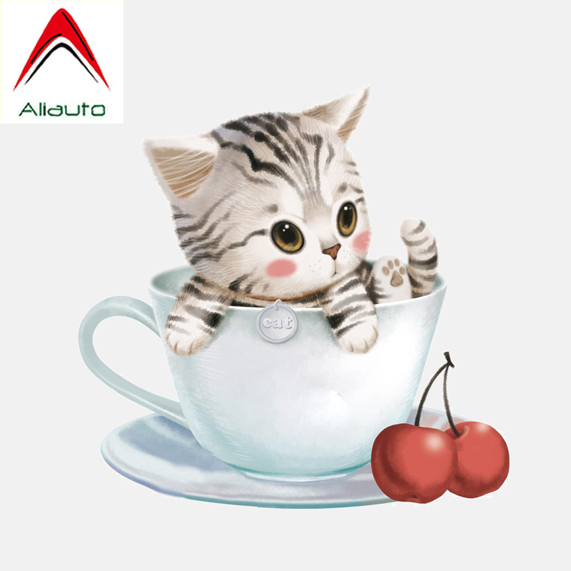 Aliauto Car Sticker Lovely Kitten In A Teacup <font><b>Accessories</b></font> High Quality PVC Decal for <font><b>Smart</b></font> <font><b>Fortwo</b></font> <font><b>451</b></font> Bmw X6 Chevrolet,17CM*16CM image