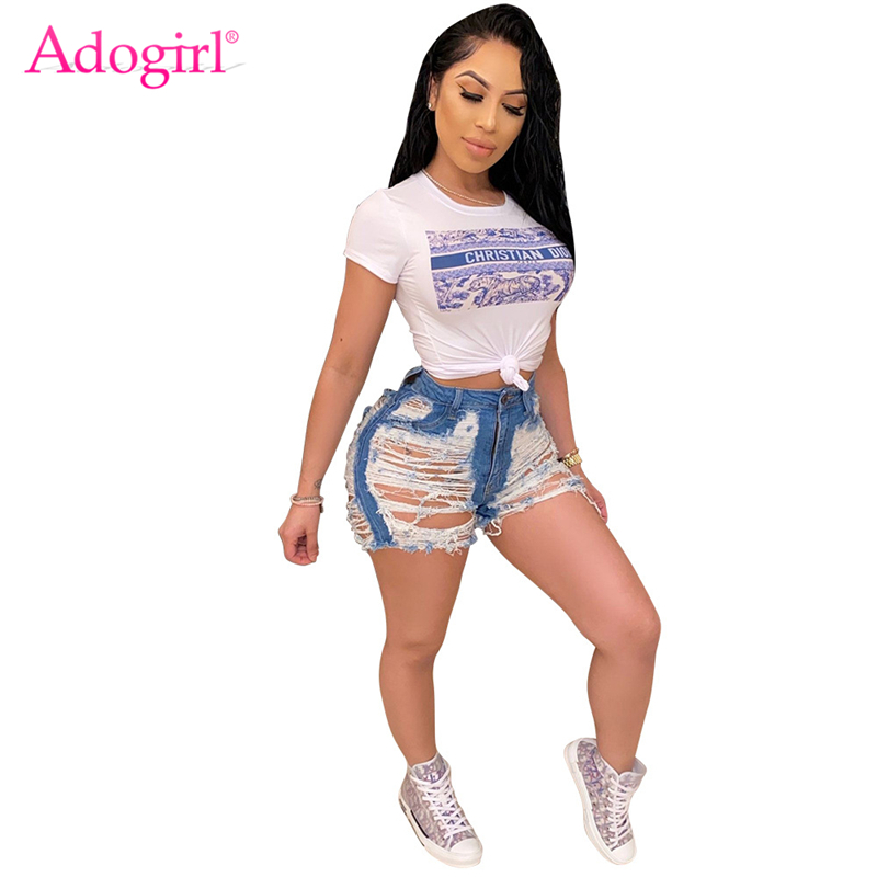 Adogirl Hot Sale Tassel Ripped Classic Jeans Shorts Fashion Casual Denim Pants Summer Holes Washed Trousers
