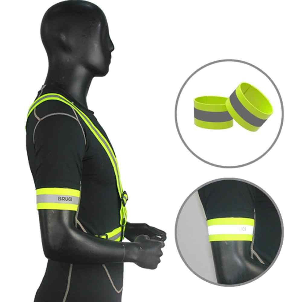 Deportes al aire libre brazo reflectante correa de la correa luminosa de la seguridad de la noche de carrera de montar en bicicleta trotar Banda del brazo