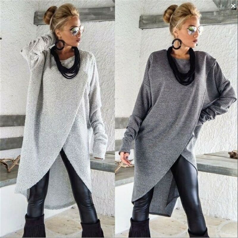 Autumn Winter New Fashion Womens Long Sleeve Loose Blouse Dress Female Casual Solid O-Neck Jumper Pullover Regular Size Dresses