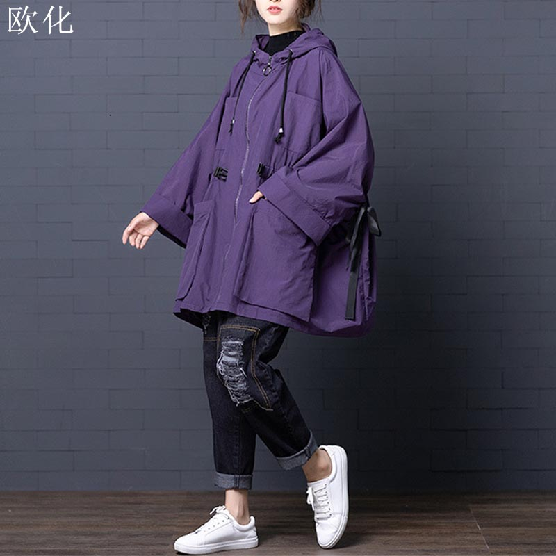 Women Bomber Jacket Coat Plus Size 2019 Autumn Winter Batwing Sleeve Hooded Jackets Vintage Ladies Oversize Loose Outerwear Coat