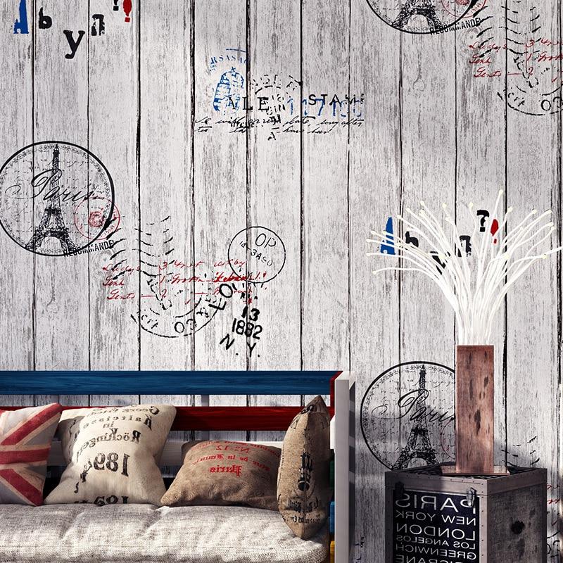 Retro Nostalgic Cartoon British-Style Wood Grain Wallpaper Eiffel Board Restaurant Coffee Shop PVC Wallpaper