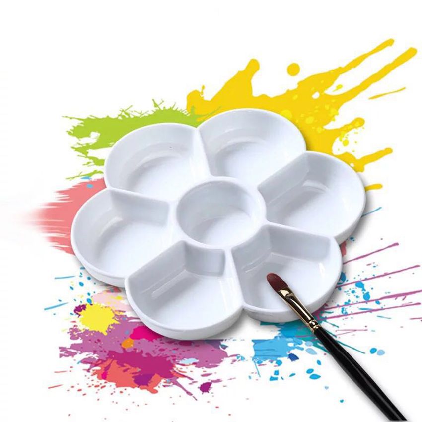 7-grid Plum Blossom Paint Palette Tray Imitation Ceramic For Acrylic Oil Watercolor Gouache Craft DIY Art Painting, White