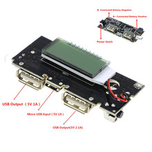 ¡Protección automática! Cargador de batería USB 18650 Dual, módulo de alimentación PCB, 5V, 1A, 2.1A, Banco de energía móvil para teléfono, módulo LCD LED DIY
