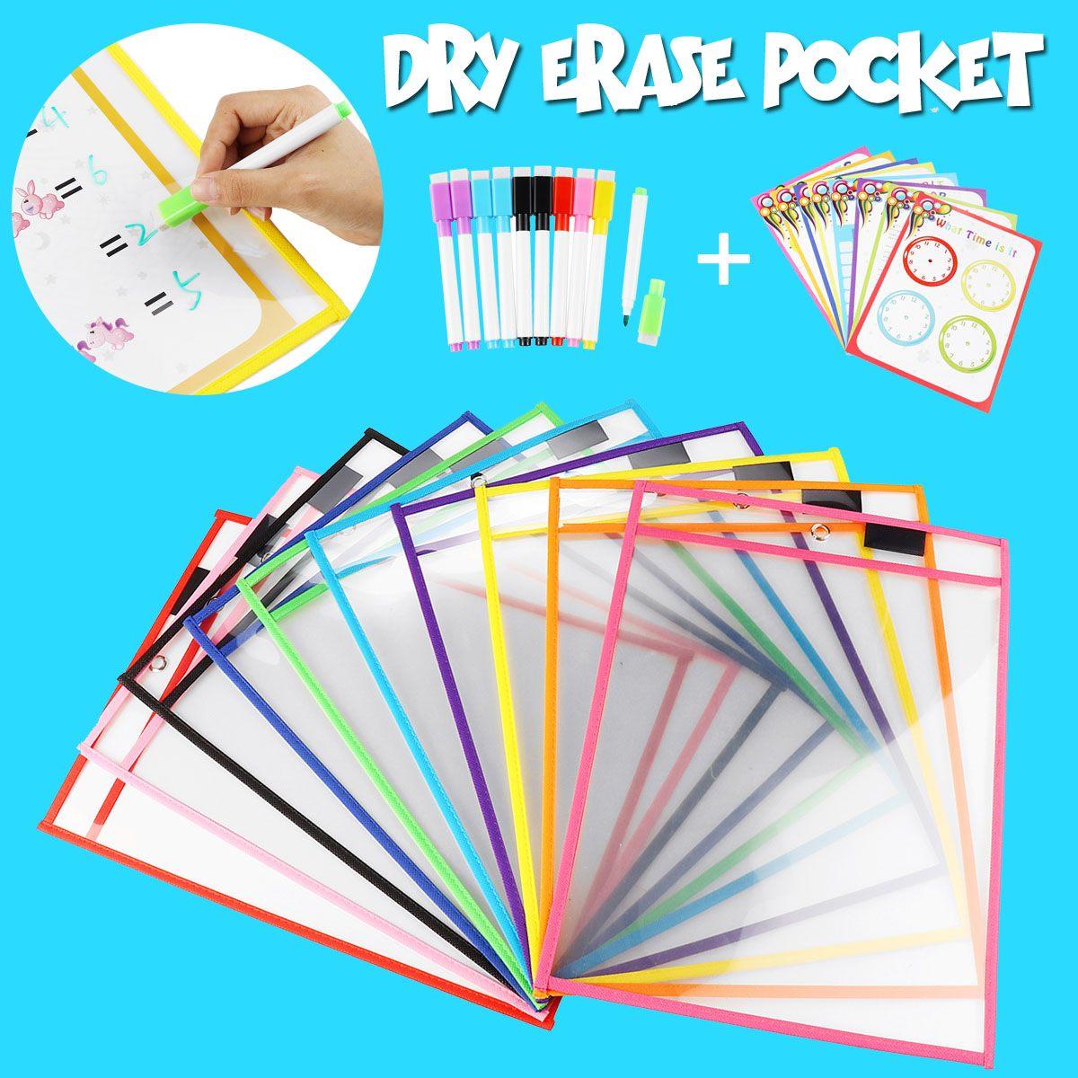 Reusable Dry Pockets with 10pcs Drawing Pen Transparent File Folder Document Bag Classroom Teaching Supplies Kids Practice