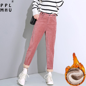 Classical solid pink thick corduroy sweatpants women Fashion vintage button elastic high waist trousers Winter warm harlan pants