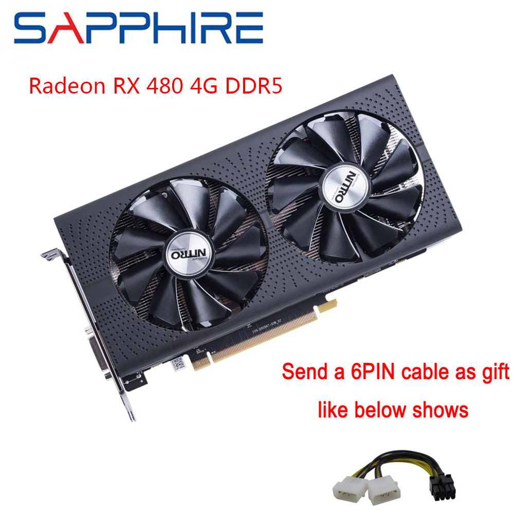 SAPPHIRE AMD Radeon RX 480 4GB GDDR5 Gaming PC GPU da Placa Gráfica 256bit PCI Express 3.0 Cartões de Desktop Usado placa de vídeo Do Computador