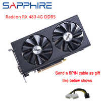 Saphir AMD Radeon carte graphique RX 480 4GB GDDR5 Gaming PC GPU 256bit PCI Express 3.0 bureau utilisé cartes vidéo carte ordinateur