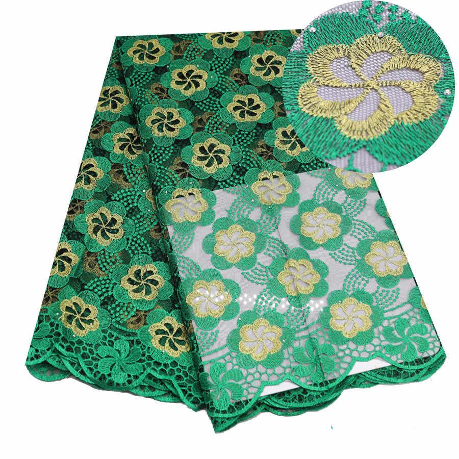 BluAfrican Tessuto di Pizzo 5 Yards Guipure di Alta Qualità Del Merletto di Tulle Francese Ricamato Tessuto di Pizzo di Maglia Viola Verde Festa di Nozze
