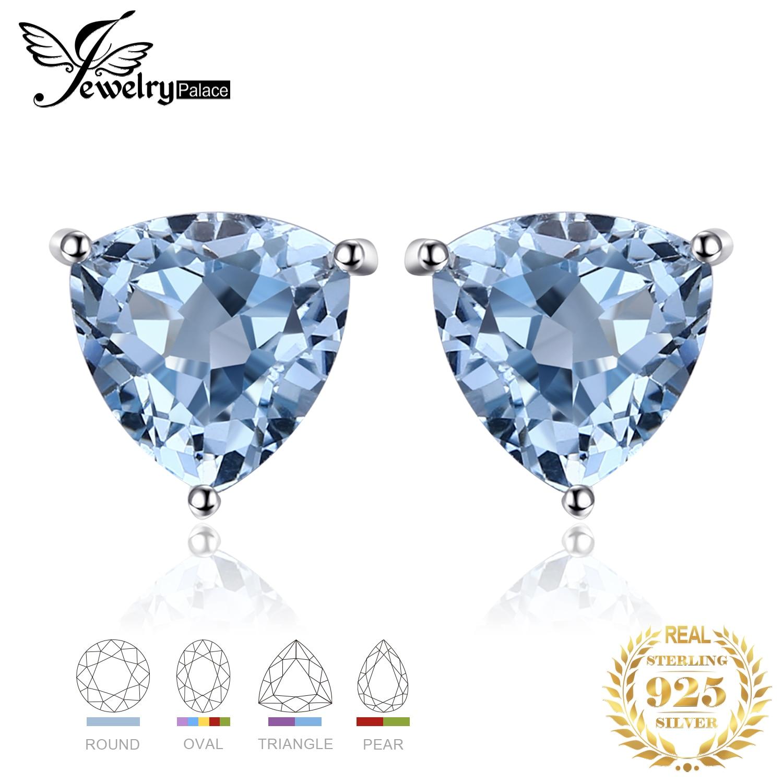 Genuine Amethyst Garnet Peridot Topaz Stud Earrings 925 Sterling Silver Earrings For Women Korean Earings Fashion Innrech Market.com