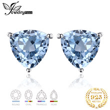Genuine Amethyst Garnet Peridot Topaz Stud Earrings 925 Sterling Silver Earrings For Women Korean Earings Fashion Jewelry 2019(China)
