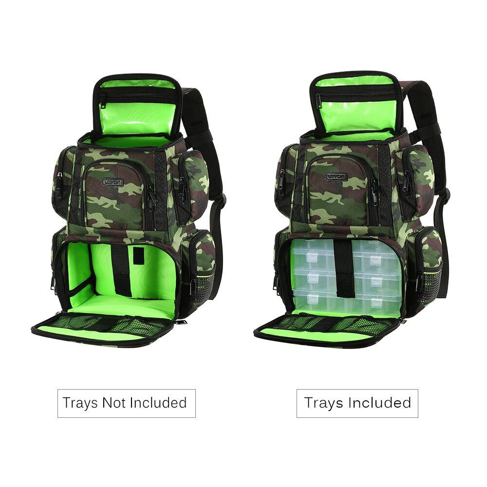 Lixada Adjustable Waterproof Camo Fishing Backpack with 4 boxes 2