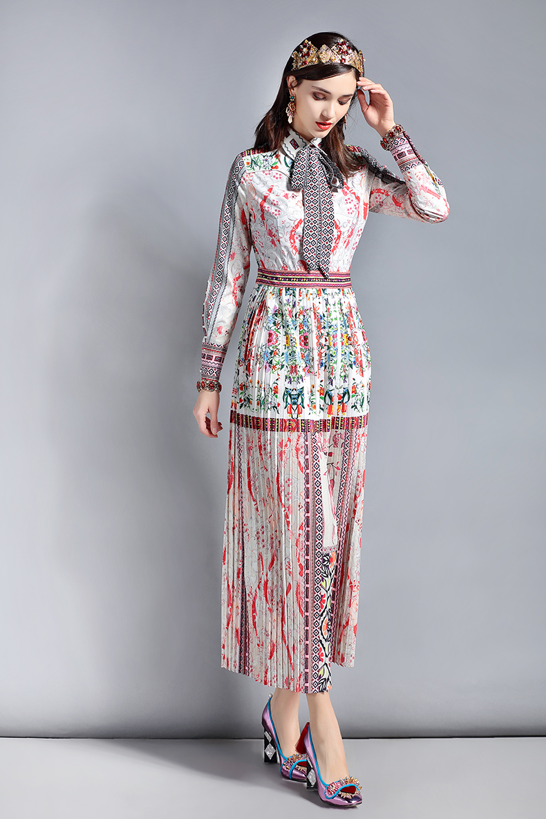 Baogarret Spring Fashion Runway Designer Dress Women 39 s Long sleeve Bow Collar Retro Art Printed Vintage Long Dress in Dresses from Women 39 s Clothing