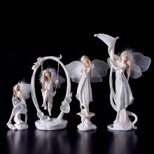 Modern resin angel figurines Arts and Crafts Kawai wedding decoration gift fairy garden Flower girl Miniature home decoration