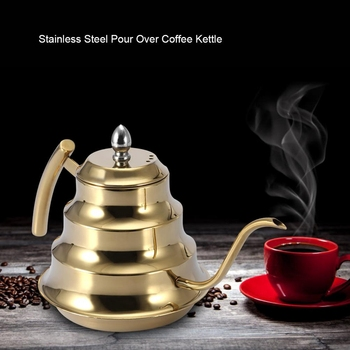Stainless Steel Thin-Mouth Bamboo Pot Hotel Teapot Induction Cooker Kettle Fine-Mouthed Stainless Steel Coffee Pot 1