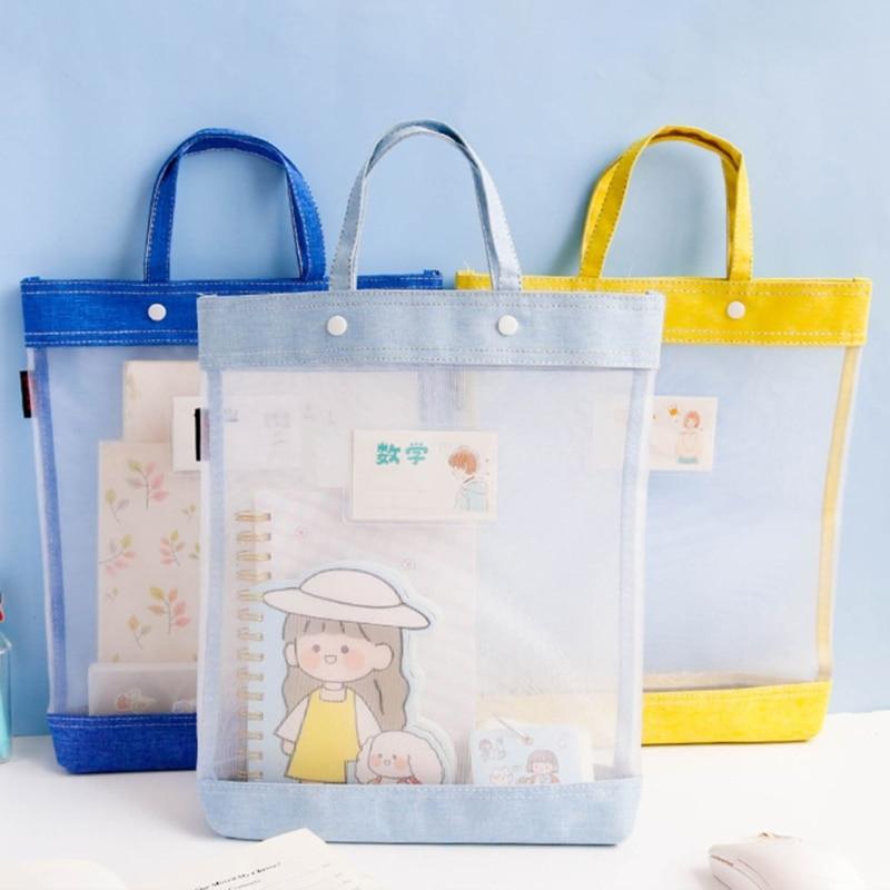 Portable Transparent Nylon Mesh School Tote Student Subject Classification Bag 1XCB