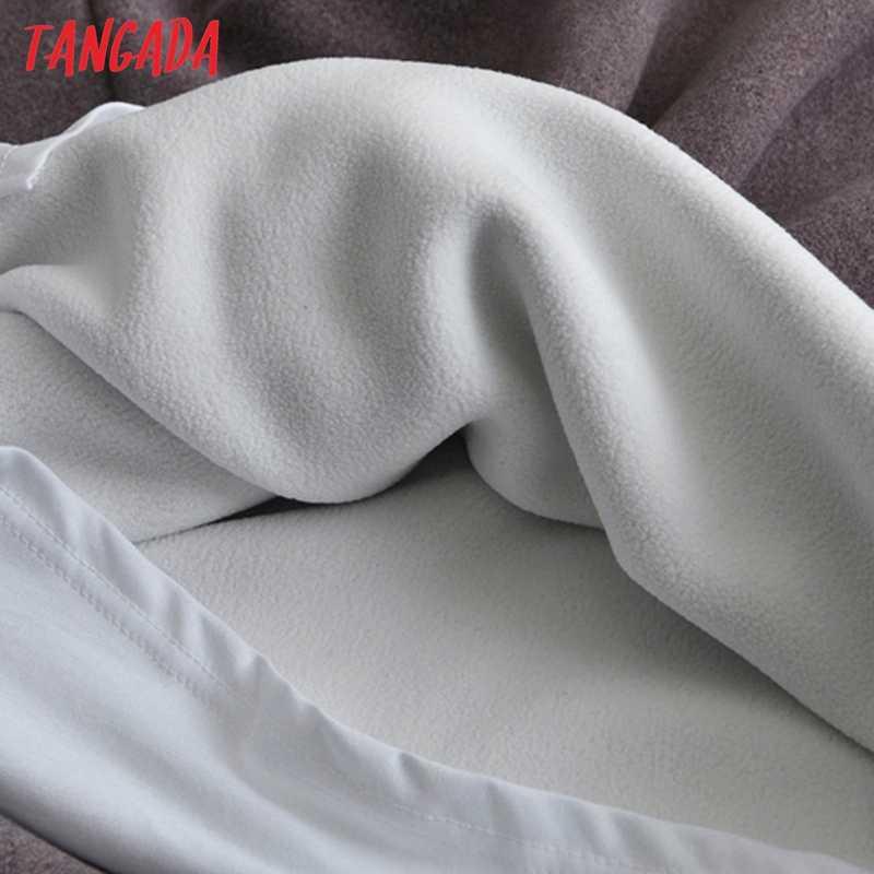 Tangada kadın yün hoodie tişörtü içinde Lalambswool sıcak cep 2020 kış büyük boy kadın patchwork kapşonlu tops 7M1