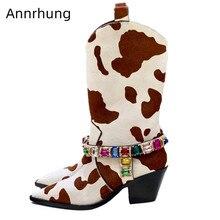 Женская обувь из конского волоса, до середины голени, с принтом, из коровьей кожи, цветные, со стразами, вечерние, Bottes, Осень-зима, Новое поступление, модные женские ботинки