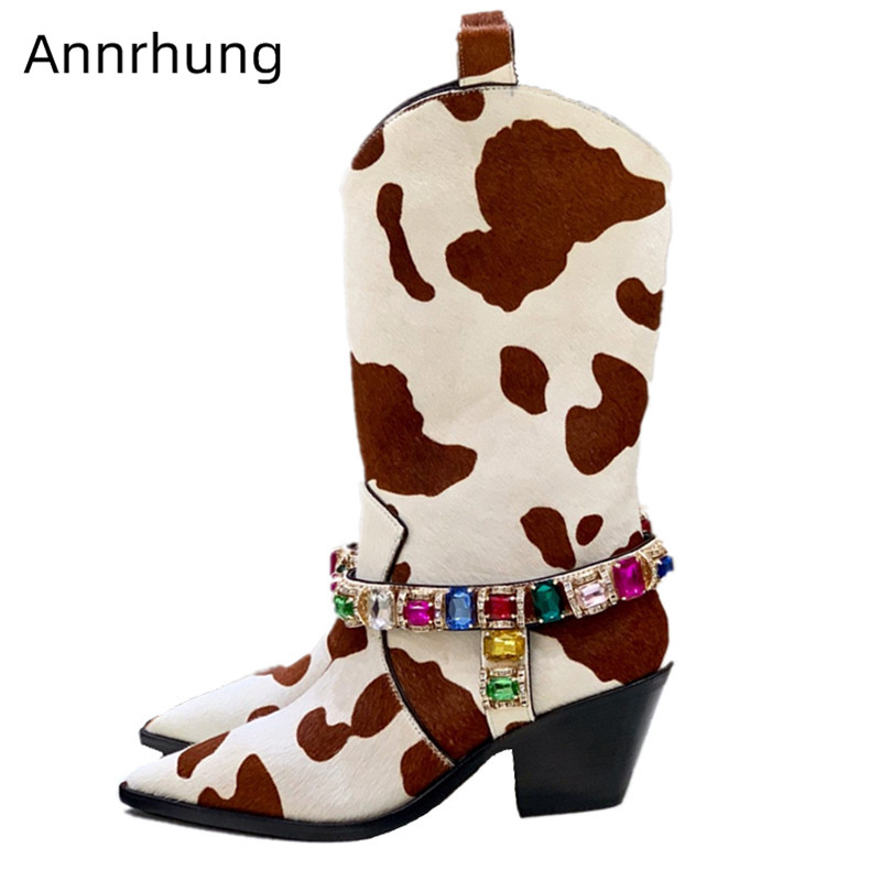 Shoes Women Horse Hair Mid-Calf Bottes Print Cow-Spot Colorful Diamond Party Bottes Fall Winter New Coming Fashion Boots Woman