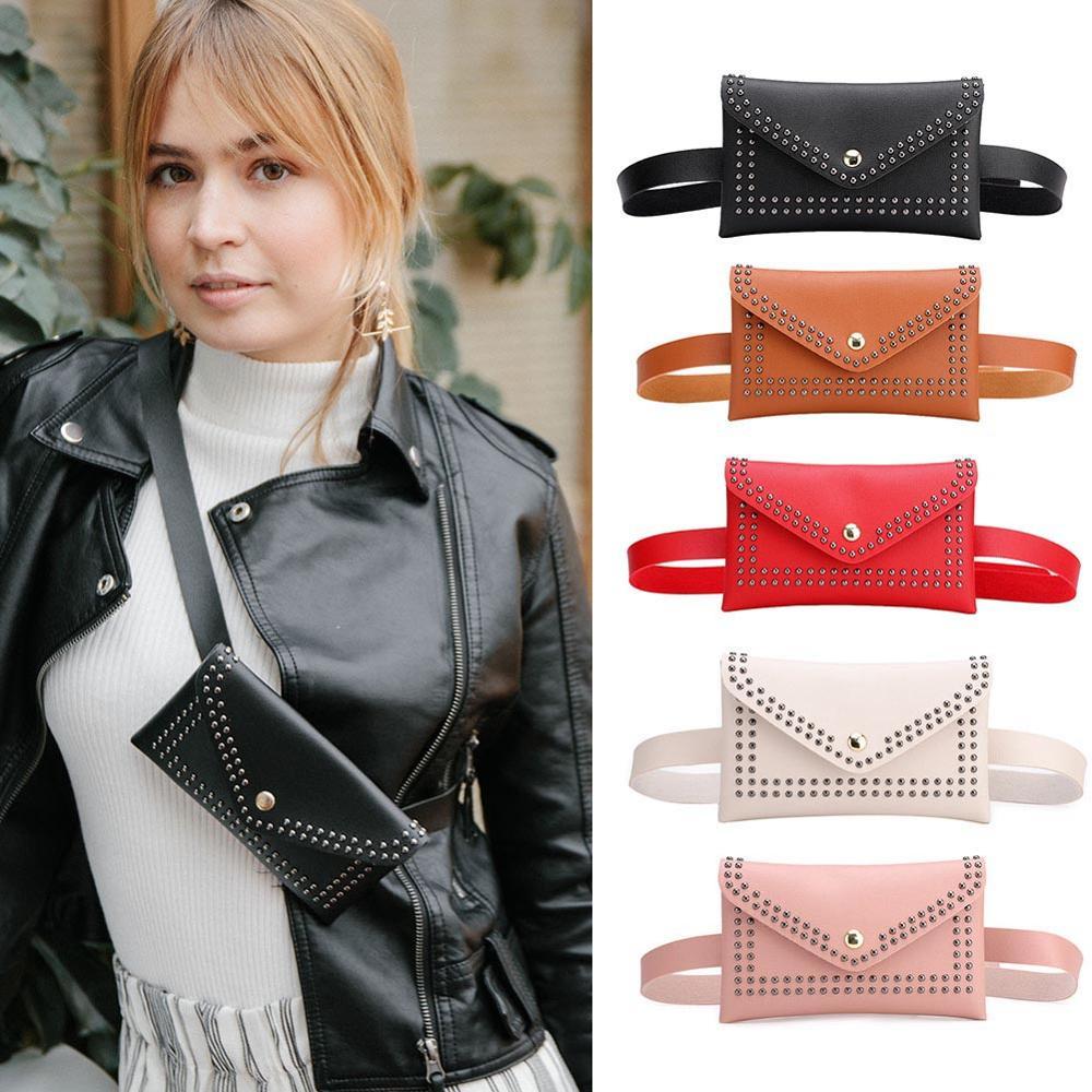 Punk Solid Color Rivet Shoulder Waist Bags Female Girls Fanny Belt Packs Women PU Leather Crossbody Casual Messenger Chest Bags